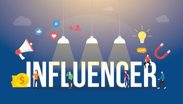 Große wörter influencer simsen mit teamleuten und social media-ikone mit moderner flacher art. Premium Vektoren