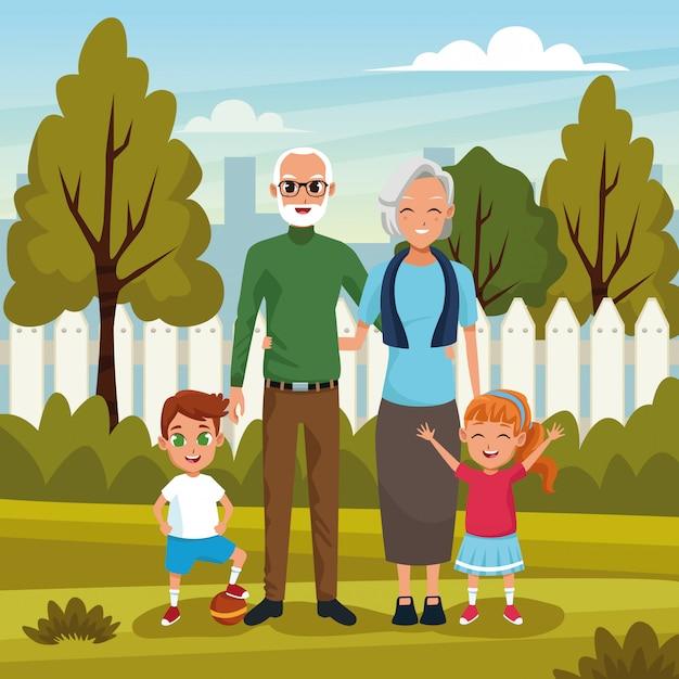 Großeltern mit enkeln im park Kostenlosen Vektoren