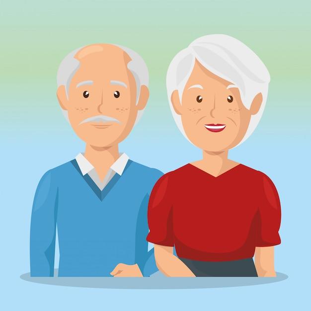Großeltern paar avatare zeichen Kostenlosen Vektoren