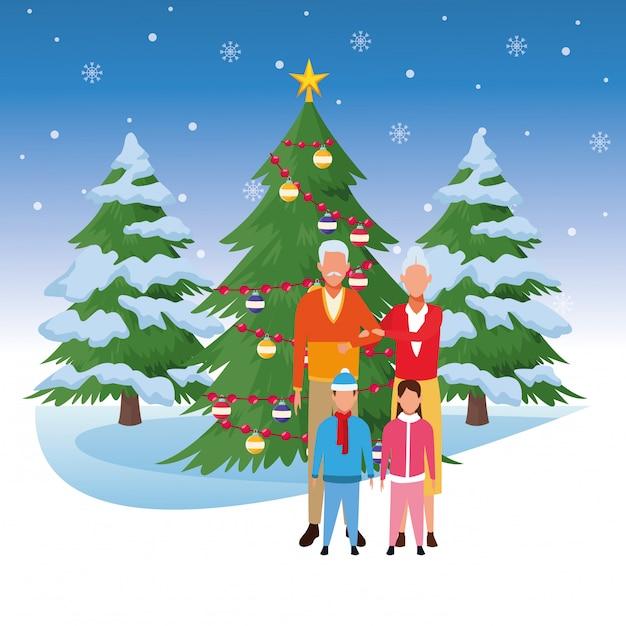 Großeltern und enkelkinder über weihnachtsbaum Premium Vektoren
