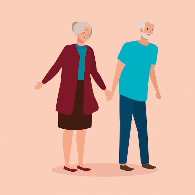 Großeltern verbinden eleganten avatarcharakter Kostenlosen Vektoren