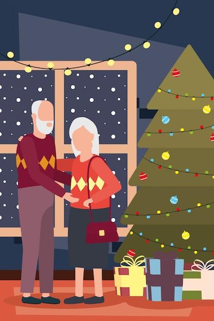 Großelternpaare, die weihnachten mit baum feiern Premium Vektoren