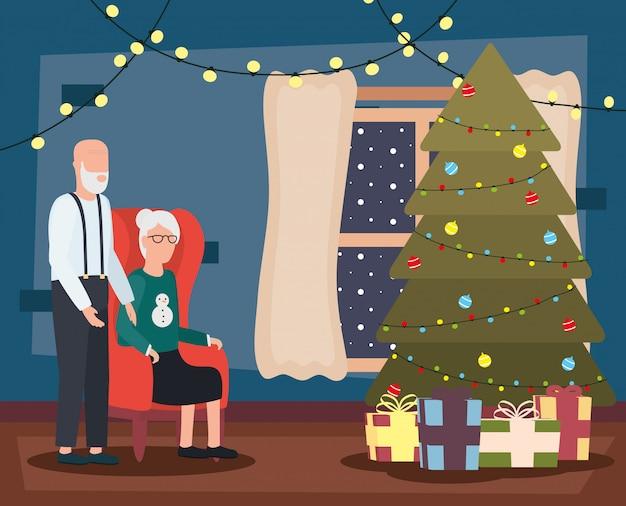 Großelternpaare im wohnzimmer mit weihnachtsdekoration Kostenlosen Vektoren