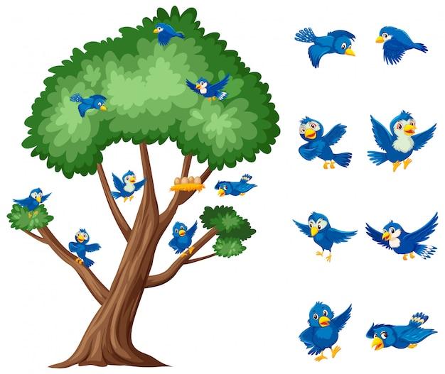 Großer baum und blaue vögel, die auf weiß fliegen Premium Vektoren