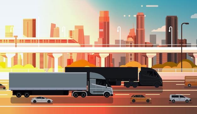 Großer halb lkw mit anhänger-landstraßen-straße mit autos und lkw über stadt-landschaftsversand Premium Vektoren