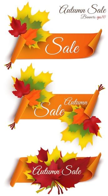 Großer herbstverkauf. herbst sale design. sammlung mit drei bannern. herbst verkaufsbanner für web oder print Premium Vektoren