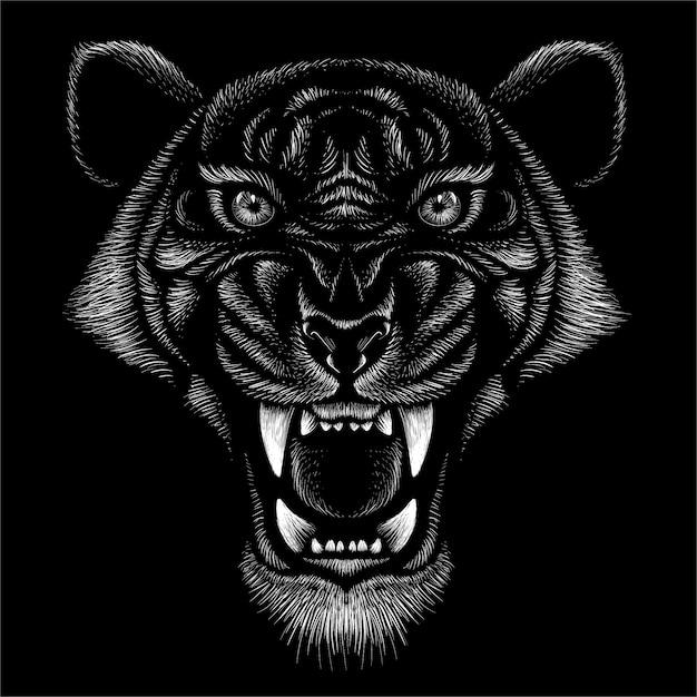 Großer katzenabdruck der jagdart auf schwarzem hintergrund. Premium Vektoren