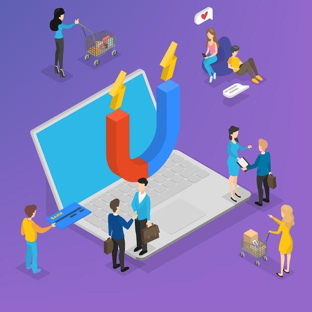 Großer magnet auf dem laptop, der kunden anzieht. marketingstrategie zur steigerung der kundenbindung und -bindung. kommunikation mit dem kunden. isometrische darstellung Premium Vektoren