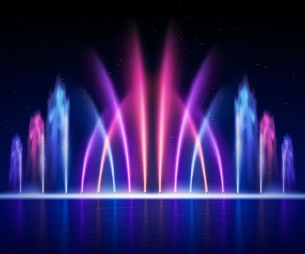 Großer multi farbiger dekorativer tanzenwasserstrahl führte helle brunnenshow an der nachtrealistischen bildillustration Kostenlosen Vektoren