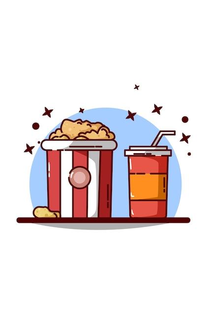 Großer popcorn mit erfrischungsgetränkillustration Premium Vektoren