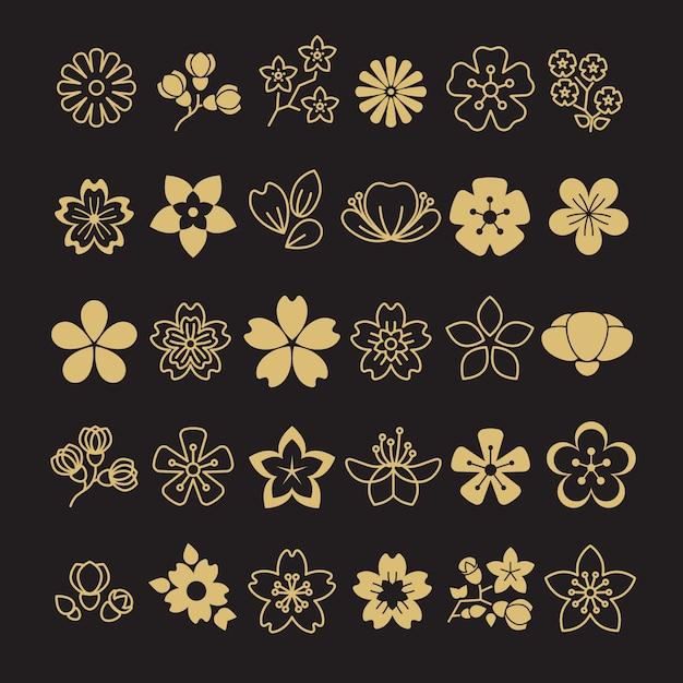 Großer satz goldene blütenblumen, -blätter und -niederlassungen Premium Vektoren