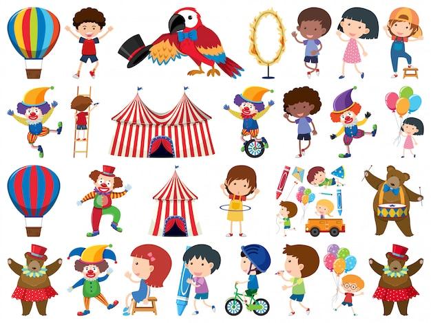 Großer satz isolierter elemente von kindern und zirkus Premium Vektoren