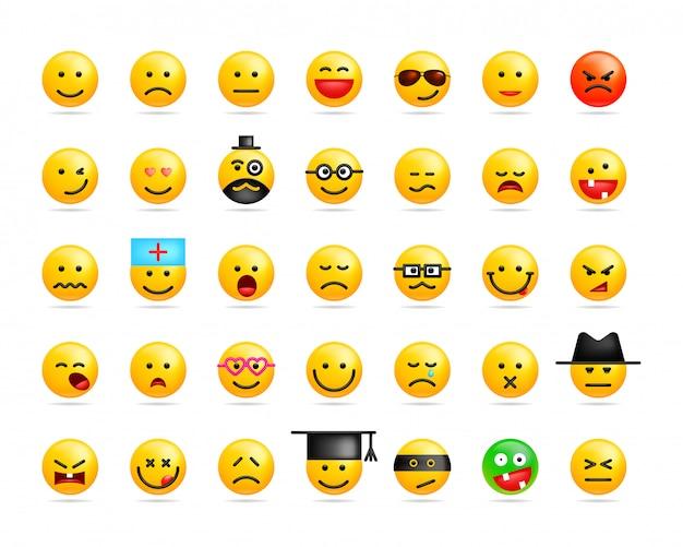 Großer satz lächelt emoticon Premium Vektoren