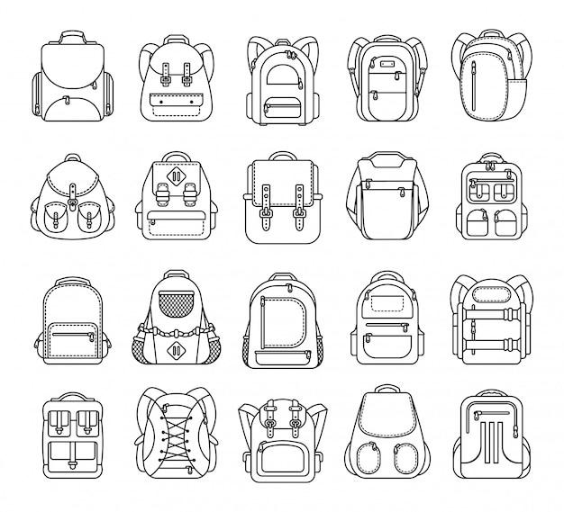 Großer satz schulrucksack, sport und reisetasche zeichnen die ikone, die auf weißem hintergrund lokalisiert wird Premium Vektoren
