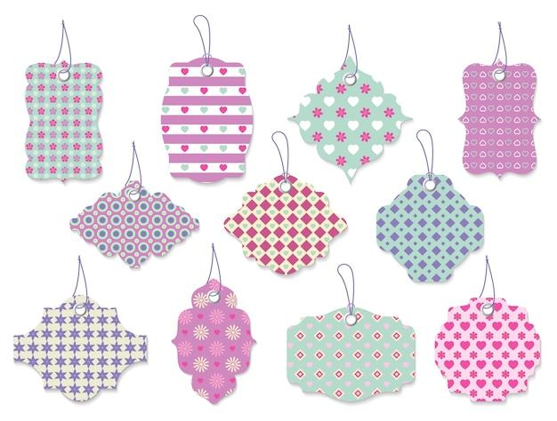 Großer satz von elf niedlichen hübschen vektor-tags und etiketten mit blumen und herzen in verzierten formen und pastellfarben für geschenke für besondere anlässe Kostenlosen Vektoren