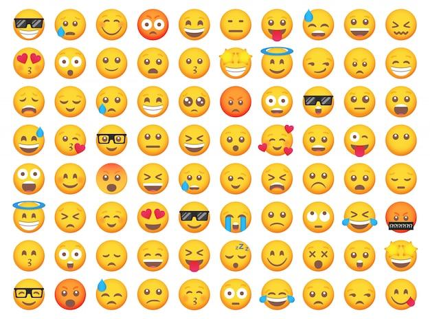Großer satz von emoticon-lächelnikonen. cartoon emoji set. emoticon gesetzt Premium Vektoren