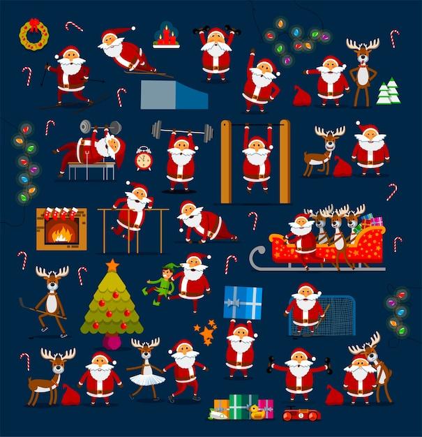 Großer satz weihnachtsmänner in verschiedenen posen zur dekoration für weihnachten und neujahr. Premium Vektoren