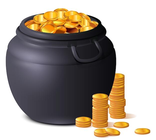 Großer schwarzer topf voll goldmünzen. schatzglück st. patricks day Premium Vektoren