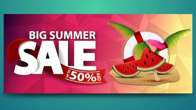 Großer sommerschlussverkauf, horizontale netzfahne mit polygonaler beschaffenheit Premium Vektoren