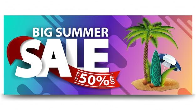 Großer sommerschlussverkauf, horizontale rabattweb-fahne für ihre website Premium Vektoren
