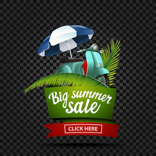 Großer sommerschlussverkauf, rabattfahne lokalisiert auf einem dunklen hintergrund in form eines bandes Premium Vektoren