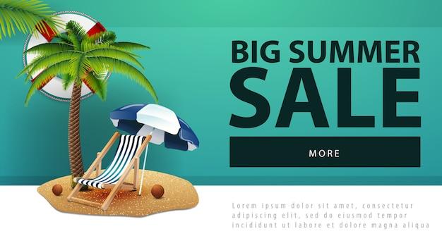 Großer sommerschlussverkauf, rabattnetzfahne mit palme Premium Vektoren