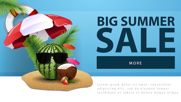 Großer sommerschlussverkauf, rabattnetzfahne mit wassermelone in den gläsern Premium Vektoren