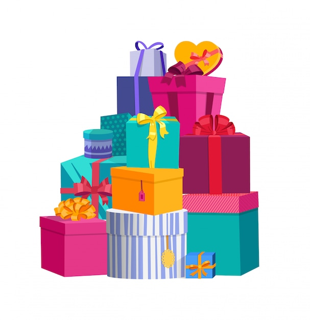 Großer stapel von bunten eingewickelten geschenkboxen Premium Vektoren