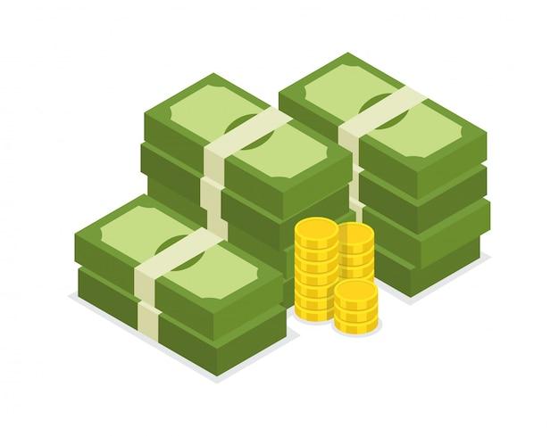 Großer staplungsdollarstapel der bargeld- und goldmünzen Premium Vektoren