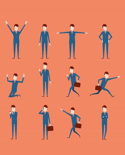 Großer vektorsatz geschäftsmanncharakterhaltungen, -gesten und -aktionen. professionelle stellung des büroangestellten, gehen, gespräch am telefon, arbeiten, laufen, freude, suchen und mehr. Premium Vektoren