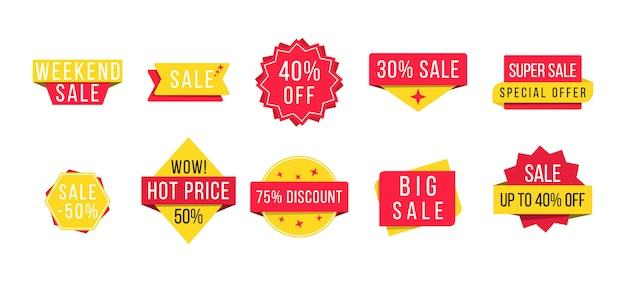 Großer verkauf, neues angebot und bester preis, rabatt für werbebanner. satz von werbeabzeichen und verkaufsetiketten, modern für website und werbung. illustration ,. Premium Vektoren