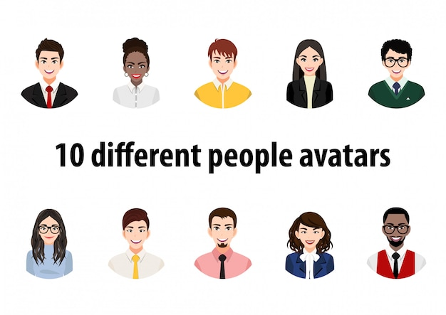 Großes bündel verschiedener menschen avatare. satz männliche und weibliche porträts. avatar-charaktere für männer und frauen. benutzerbild, gesichtssymbole zur darstellung der person in einem videospiel, internetforum, konto. Premium Vektoren