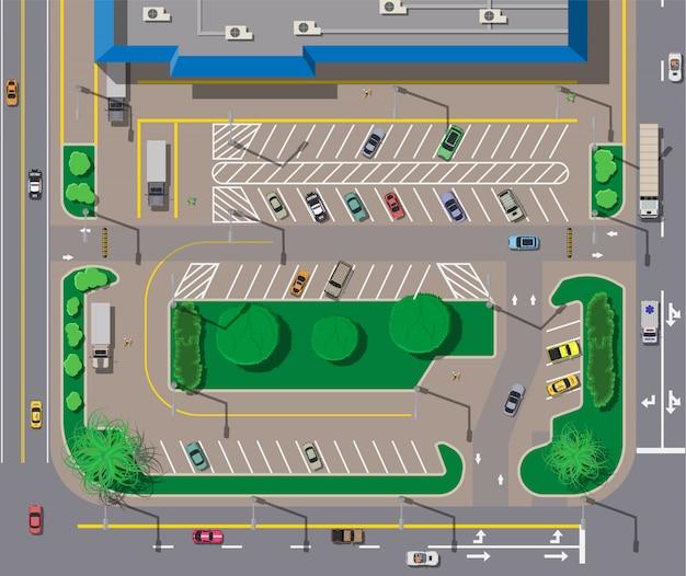 Großes einkaufszentrum oder einkaufszentrum und parkplatz für autos. Premium Vektoren