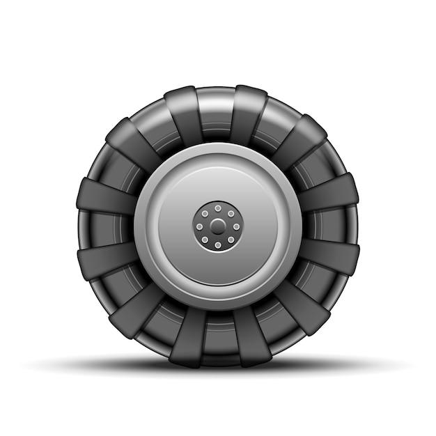Großes schwarzes rad des traktors isoliert Kostenlosen Vektoren