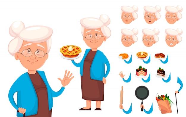 Großmutter cartoon charaktererstellung festgelegt Premium Vektoren