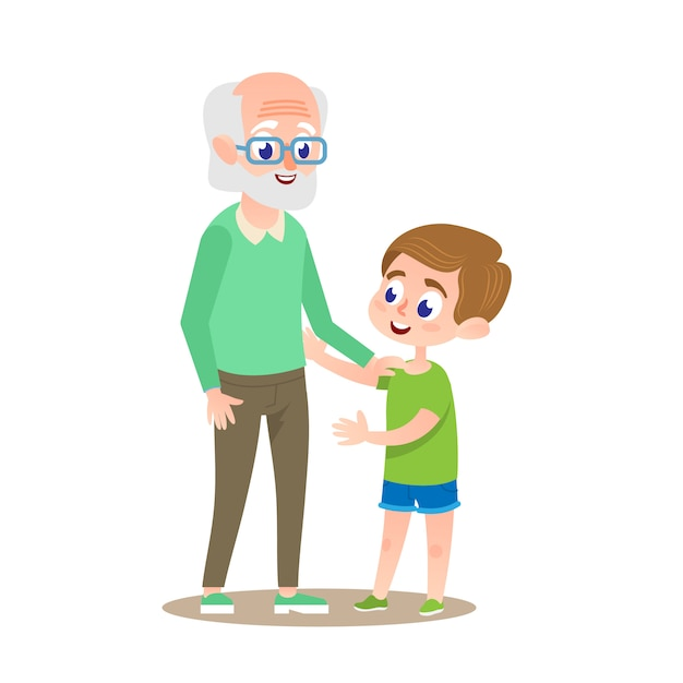 Großvater mit enkel lächelnd. Premium Vektoren