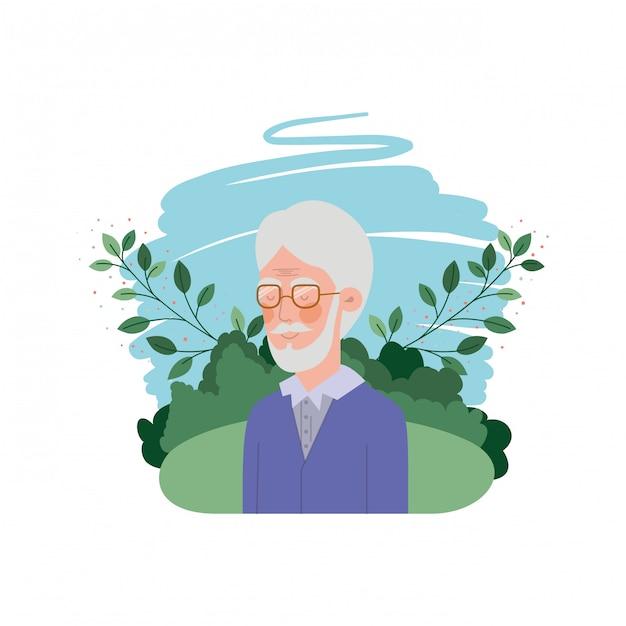 Großvater mit landschaftsavataracharakter Premium Vektoren
