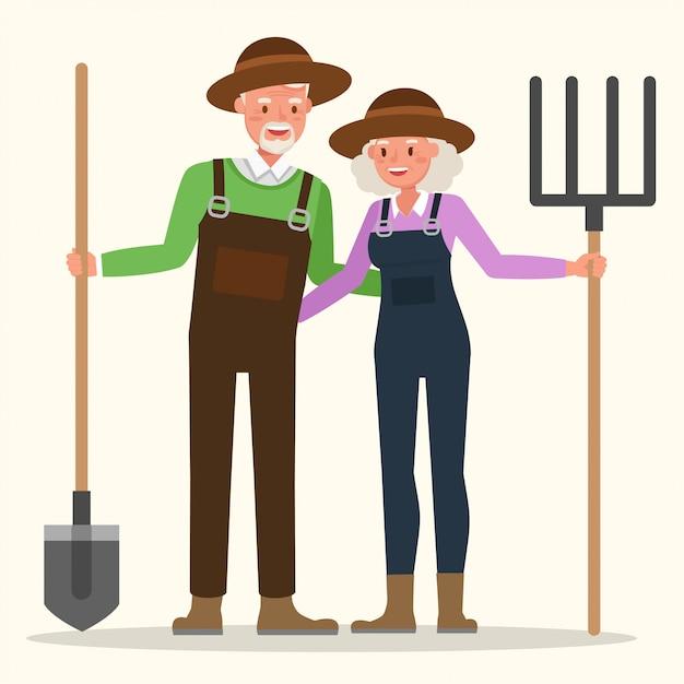 Großvater und großmutter arbeiten gemeinsam im garten. Premium Vektoren