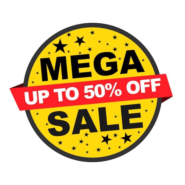 Großverkauf auf gelber fahne und bis zu 50% auf roter fahne für verkaufsförderungsereignis mit dem schwarzen stern lokalisiert Premium Vektoren
