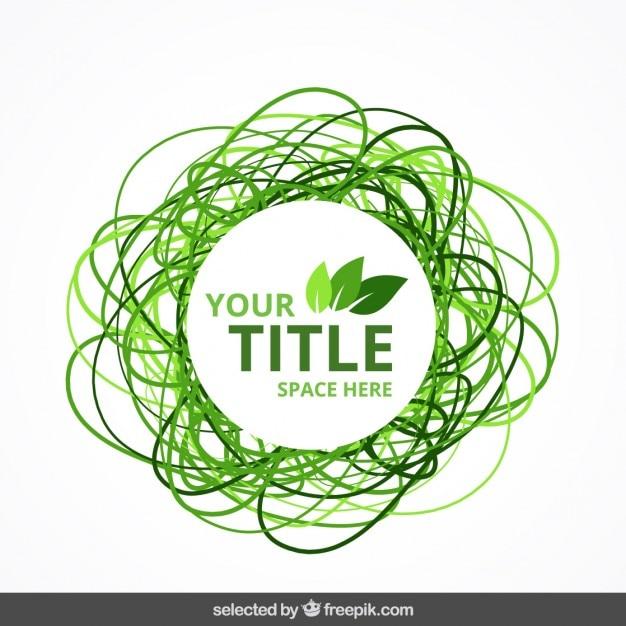 Grün doodle öko badge Kostenlosen Vektoren