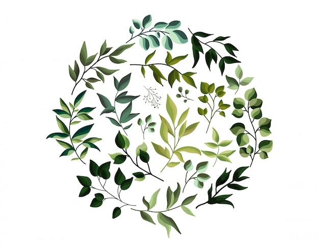 Grün eco lässt krautlaub in der aquarellart. hochzeitseinladungskarte mit blattfahne für abwehr das datum. botanische elegante dekorative vektorschablone Kostenlosen Vektoren