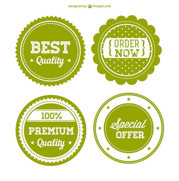 Grün premium abzeichen Kostenlosen Vektoren