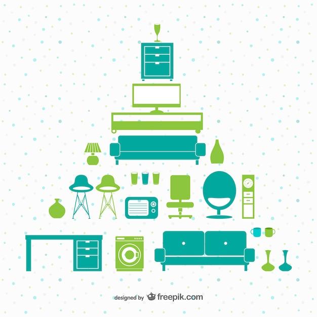 Grün und türkis möbel pack Kostenlosen Vektoren