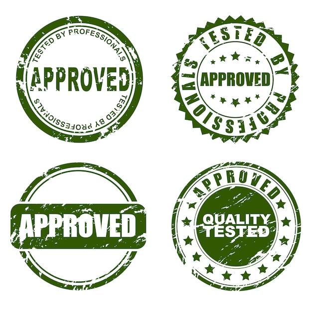 Grün zugelassenes stempelset Premium Vektoren