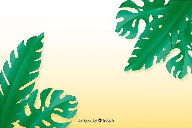 Grünblätter auf gelbem hintergrund in der papierart Kostenlosen Vektoren
