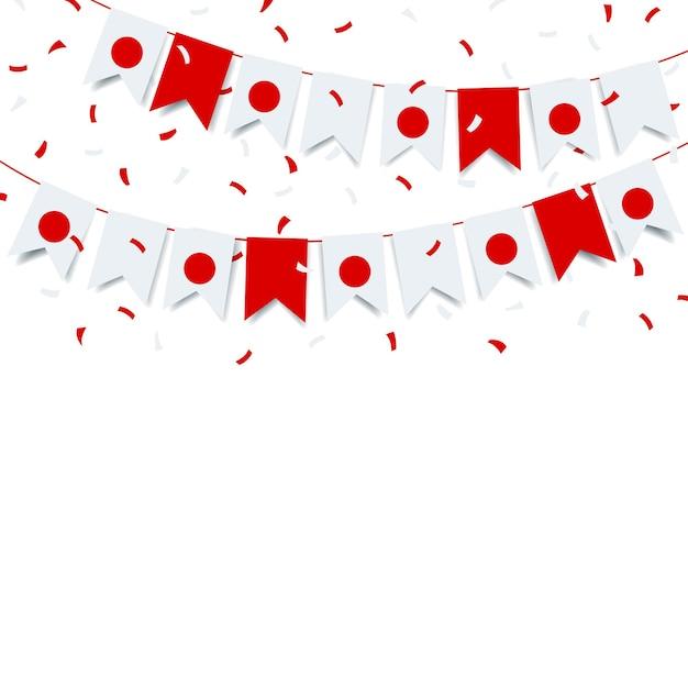 Gründungstag japan. girlande mit der flagge von japan auf einem weißen hintergrund. Premium Vektoren