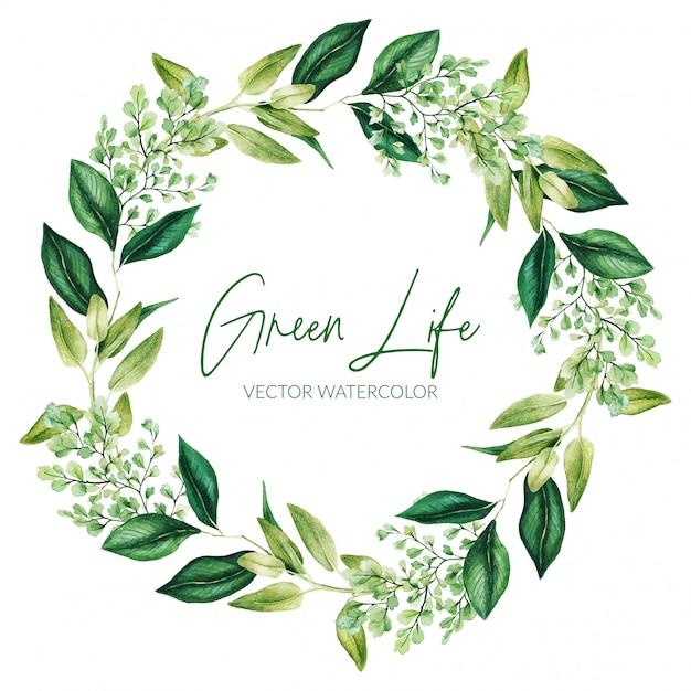 Grüne aquarellblätter und zweigkranz, hand gezeichnet Premium Vektoren