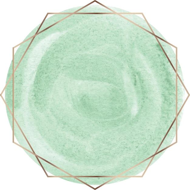 Grüne aquarellform mit goldenem linienrahmen Premium Vektoren
