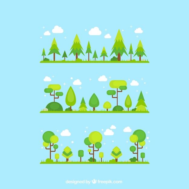 Grüne bäume Premium Vektoren