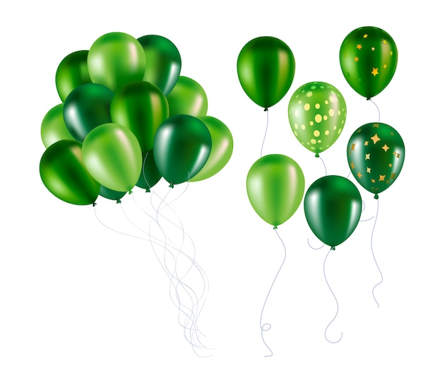 Grüne ballons Premium Vektoren